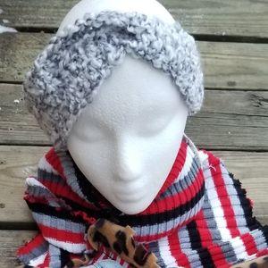 Crochet Earwarmer Gray Winter Headband Handmade